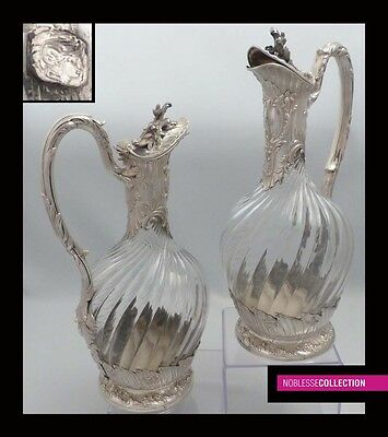 RARE ANTIQUE 1880s PAIR OF FRENCH STERLING SILVER & CRYSTAL DECANTERS CLARET JUG