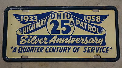 Authentic Official 1958 Ohio State HIGHWAY PATROL Police License Plate