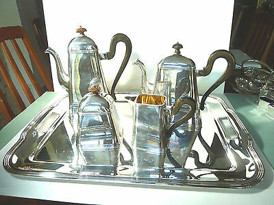 Pampaloni 4 Piece Italian Tea/coffee Sterling Silver Set On Sterling Tray