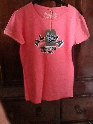 Aloha t-shirt size 14 Fit 12 Ladies Pink Handmade Boards BNWT