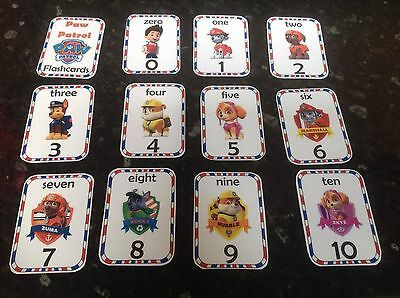 number flashcards teaching learning numbers 0 10 maths EYFS resource paw patrol