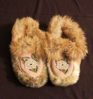 Old Northwest Coast Good Fur Moccasins Native American Indian