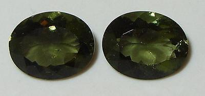 4.08ct Pair Faceted TOP QUALITY Natural Czechoslovakia Moldavite Oval Cut 10x8mm