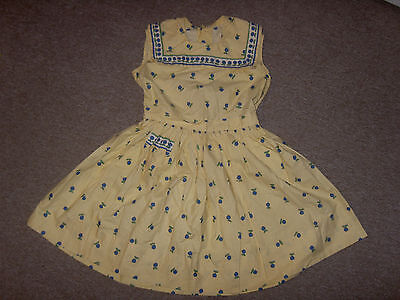 Vintage 1950S Floral Cotton Rockerbilly Swing Sailor Collar Dress 3-4-5Yrs
