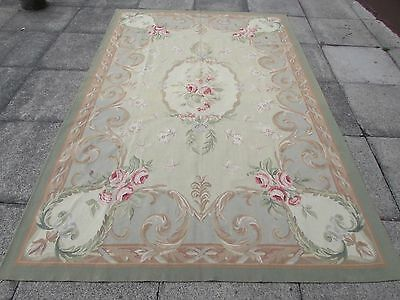 Old Hand Made French Design Wool 9x6 Beige Aqua Original Aubusson 273X184cm