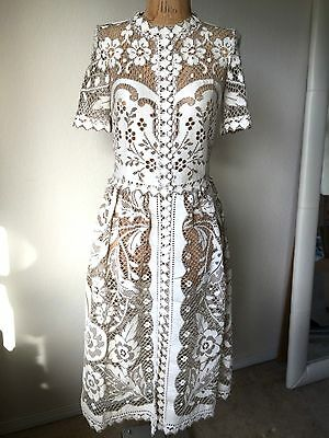 Wedding White two-tone Cut out Lace Maxi Boho Dress Sz S Valentino Style