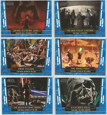 2017 Star Wars 40th Anniversary~BLUE PARALLEL Base Card LOT (6)12,23,37,46,49,57