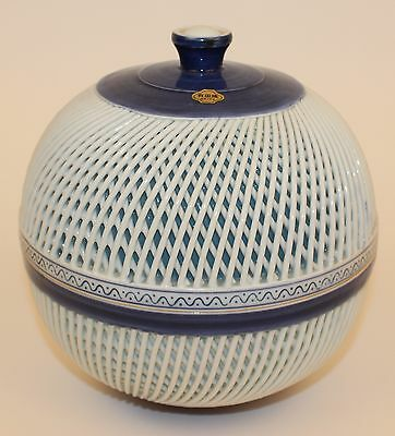 Japanese Arita Woven Porcelain Large Covered Box