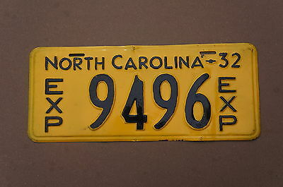 1932 North Carolina Exempt Police Fire License Plate # 9496