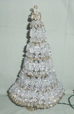 Vintage Handcrafted Safety Pin Bead SHABBY Lighted Chic CHRISTMAS TREE White