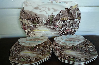 Vintage Johnson Brothers Olde English Countryside sandwich plate set
