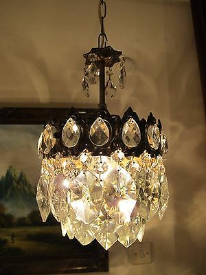 Antique VNT.Small French Basket Style Crystal Chandelier Lamp 1940's.7.5 in..