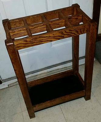 Antique Arts & Crafts Mission Oak Umbrella Stand Stickley Era Solid Condition