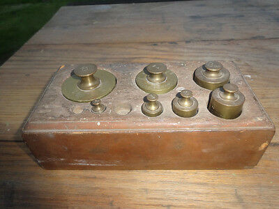 Antique brass scale weights in wooden case 1910 era set apothacary cooking