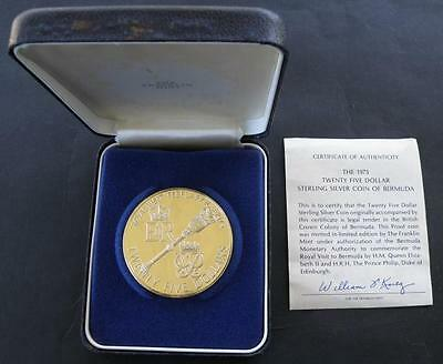 1975 Bermuda 25 Dollars Royal Visit Silver Proof in Box