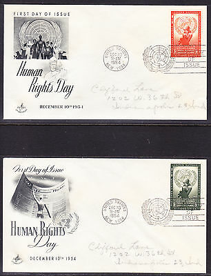 """United Nations 1954 """"Artcraft"""" - Human Rights TWO  First Day Covers addressed"""