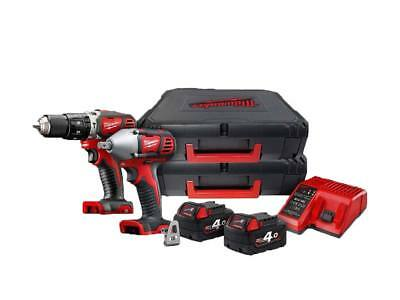 Milwaukee M18BPP2K-402C 18v 2x4.0Ah Brushed Impact Drill and Wrench Twin Kit