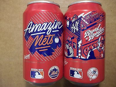 2 - 12 oz. Budweiser Beer Cans - 2017 MLB  New York Mets & NY Yankees  A. Busch