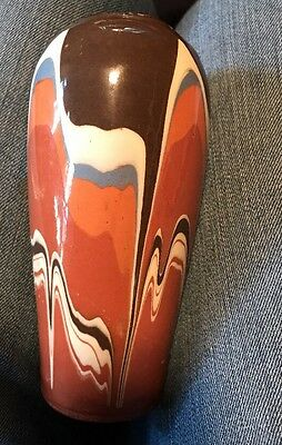 "Gorgeous Vintage 6.25"" Swirl/mission Ware Glazed In & Out Pottery Vase"