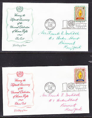 """United Nations """"Artmaster"""" 1963  - Human Rights TWO FDC  addressed"""