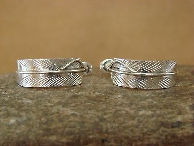 Navajo Indian Jewelry Sterling Silver Feather Hoop Earrings! Hand Stamped!