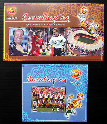 St KITTS 2004 World Cup Football M/Sheets (2) U/M NB1078