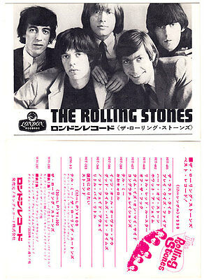 """Rolling Stones Japan London postcard (1965) for promo of HIT 7""""s, 1st EP and LPs"""