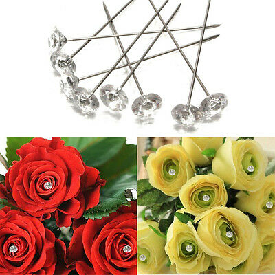 100/200X Clear Diamante Flower Pins Wedding Bouquet Diamond Buttonholes Corsage