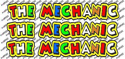 """Valentino Rossi style text - """"THE MECHANIC""""  x3  stickers / decals  - 5in x 1in"""