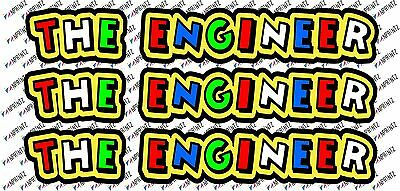 """Valentino Rossi style text - """"THE ENGINEER""""  x 3  stickers / decals  - 5in x 1in"""