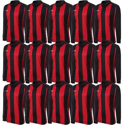 Umbro Men's Clifton Long Sleeved Football Jersey Team Kit Soccer Red & Black