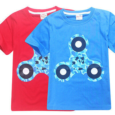 New Kids Boys Fidget Spinner Kids Clothing T-Shirt Summer Short Sleeve 4-12 Y