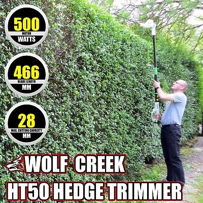 500W Electric Long Reach Telescopic Pole Hedge Trimmer with 45cm Blade