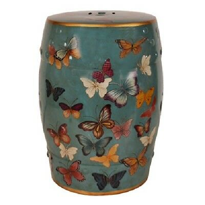 Beautiful Porcelain Oriental Turquoise Multicoloured Butterfly Stool Chinese MA