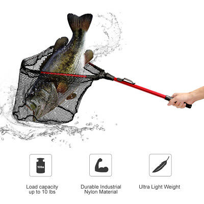 Enkeeo Folding Fishing Landing Net Triangular Kayak Boat Fishing Fish Nets Mesh