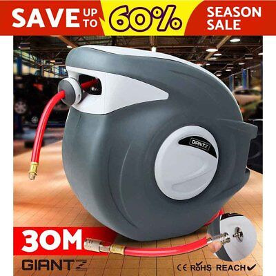 30M GIANTZ Retractable Garden Air Hose Reel Storage Auto Rewind Wall Mounted