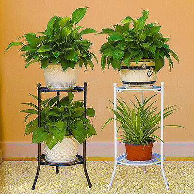 Two-layer Elegant Metal Plant Stand Shelf Flower Pot Rack Holder Black White