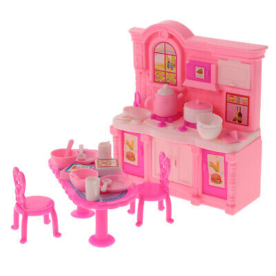 Dolls House Dining Table Chairs Kitchen Cooking Utensils Set for Barbie Doll