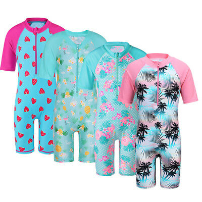 One-Piece Kids Girls UPF 50+ Sun Protective Swimsuit Surf Swimming Costume 2-12Y