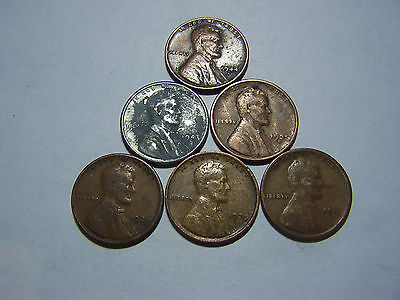 6-Lincoln Wheats 1917-D 1929 1929-S 1935-D 1943-S 1944-S