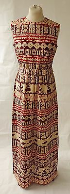 Vintage Maxi Dress w/ Belt African Wax Printed/Batik Style Fabric Size UK12-14