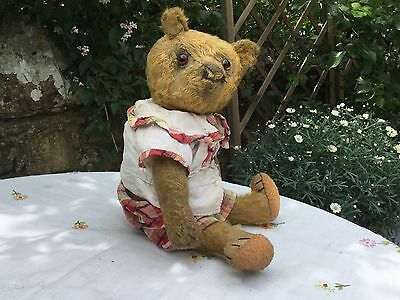 Mabel..adorable Antique Teddy Bear-C 1920-Old Hand Made Outfit Original To Bear-