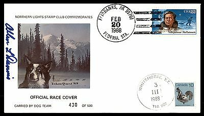Canada US Mixed Franking Dual Cancels 1988 Official Dog Race Cover Limited Editi