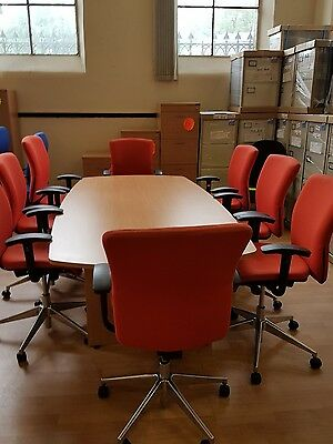 New boardroom meeting conference table in beech 2.4 x 1.2 and 8 free used chairs