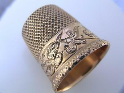 10K Gold THIMBLE w/ engraved scene of Bird & Florals by Stern w/ anchor mark