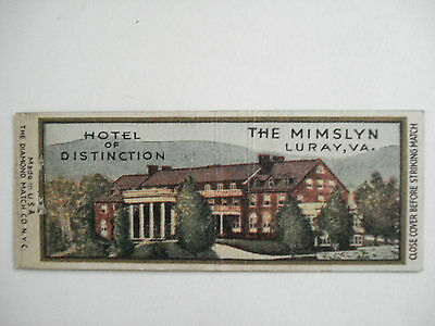 Hotel The Mimslyn Luray, Va. U.s.a. Matchcover Vintage