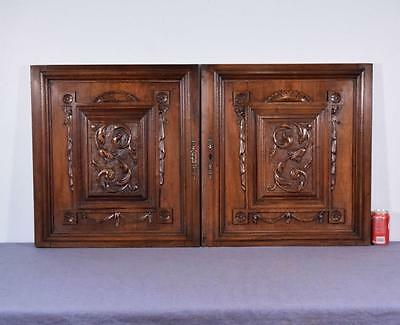 "Pair of 26"" Tall French Antique Carved Panels/Doors in Walnut Wood"