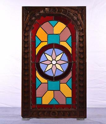 French Antique Stained/Leaded Glass & Oak Wood Door Panel
