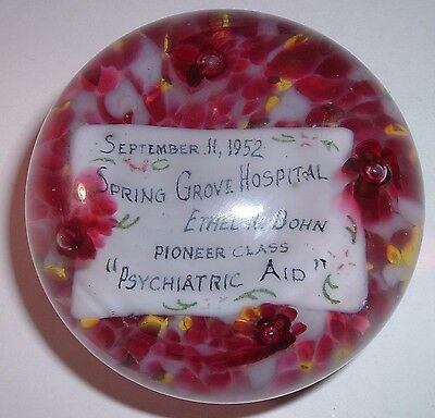 Spring Grove Psychiatric Hospital Insane Asylum 1952 Art Glass paperweight NURSE