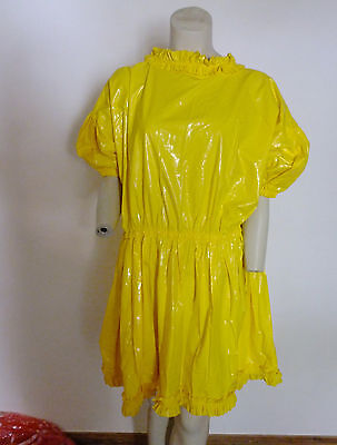 PVC Adult Baby Yellow Dress Frock 3XL 4XL Plastic Shiny Age Related Roleplay